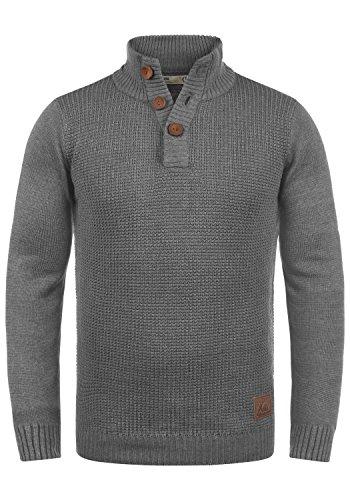 !Solid Travon Herren Strickpullover Troyer Feinstrick Pullover Mit Stehkragen Und Knopfleiste, Größe:L, Farbe:Grey Melange (8236)