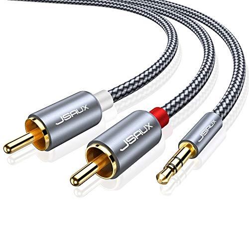 Cinch Kabel 2M, JSAUX 3.5mm Klinke auf 2 Cinch Y Splitter Chinch Kabel Audiokabel Klinkenkabel mit Metallstecker