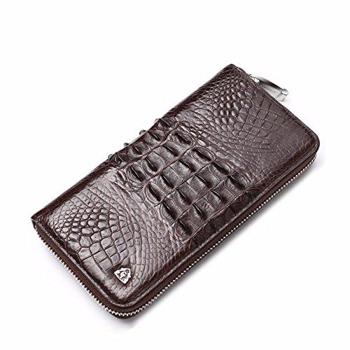 lpkone-Sac Homme motif peau de crocodile men's zip autour de portefeuille d'affaires Portefeuilles Sacs à main pour hommes Brown a