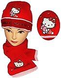 Unbekannt 2 TLG. Set: Mütze + Schal -  Hello Kitty  - für Kinder - 2 bis 8 Jahre - Mädchen - Schalset / Winterset - Strickmütze - Beanie - Katze - rot mit Herzen - St..