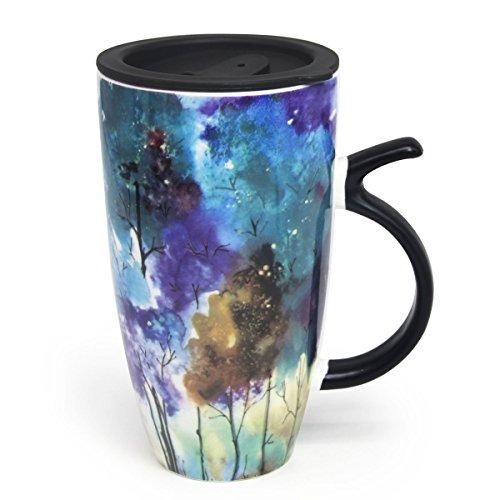 20Oz schönen Frühling Baum Malerei Geschenk Tasse, momugs (TM) groß bunt Keramik Kaffeetasse mit einem schwarzen Deckel aus Kunststoff, Spring Sommer (20 Unze-kaffee-tasse Deckel)