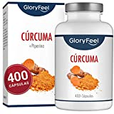 GloryFeel Cúrcuma Intensiva - 400 cápsulas veganas para más de 1 año - 700 mg de...