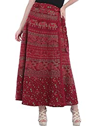 Exotic India Wrap-Around Long Skirt From Pilkhuwa With Printed Peacocks And Elephants