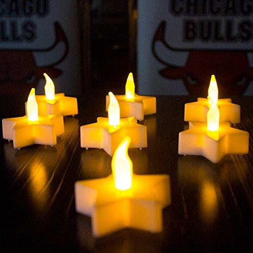 LED sin llama velas de té funciona con pilas caliente amarillo–Velas para decoración de jardín boda fiesta de Navidad 12pcs