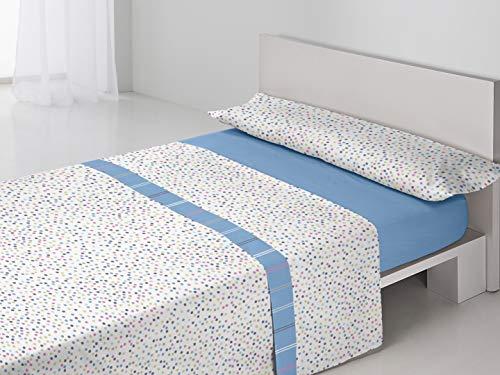 Antonella - Juego de sábanas Irene. Cama 90 cm. Azul