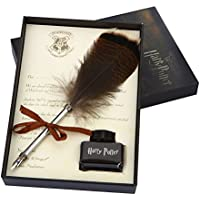 Retro Europea Peacock Feather Pen lápiz Heartshape stehen schreibstift Kit con metal primavera de Navidad Regalo de cumpleaños Set, color Harry Potter Quill Pen