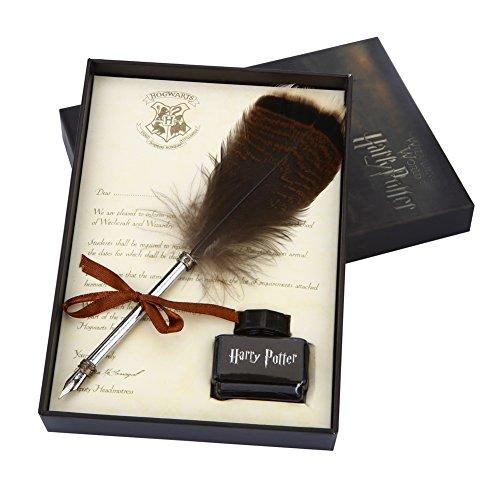 Europäische Retro Peacock Feather Pen heartshape Stift stehen Schreibstift Kit mit Metall Frühling Geburtstag Weihnachten Geschenk-Set (Harry Potter Quill Pen)