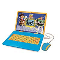 LEXIBOOK Disney Toy Story 4 Woody Buzz Bilingual Educational Laptop, Learn and play-120 Activities to Discover Mathematics, Music, Knowledge, Logic, Games-French/English, JC595TSi1, Blue/Yellow