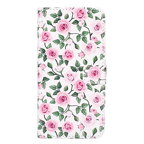 Etsue Handytasche für iPhone 7 Plus 5.5 Zoll 2016 Bunt Muster,Brieftasche Hülle für iPhone 7 Plus 5.5 Zoll 2016 Lederhülle Handyhülle Einzigartig Flip Hülle Leder Schutzhülle Vintage Wallet Case Leder Rot Rose Blume