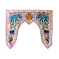 Indian Elephant/Peacock Door White Toran Embroidery Wall Hanging