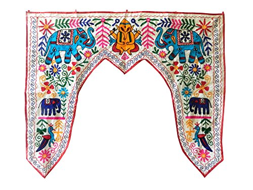 indischerbasar.de Türbehang Toran cremeweiß 117x95cm Baumwolle Spiegel Elefanten Pfau Blumen Fensterdeko Indien Regalbehang