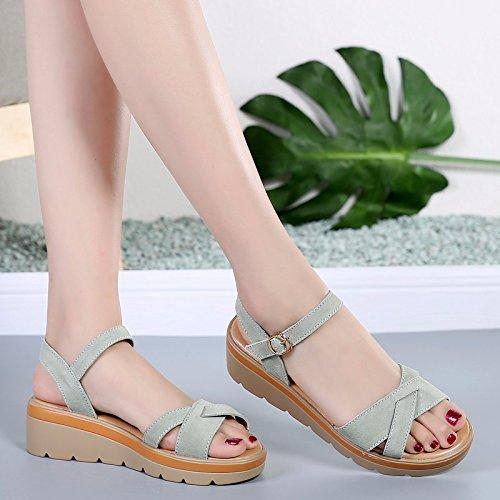 N ° 55 Summer Shoes Sandales À Bout Ouvert Pour Femmes Avec Une Boucle De Mots Wild Étudiants Casual Shoes B-107 Green