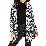 Sunnyuk Damen Leopard Cardigan Parka mit großer-Kragen | sexy Hipster & Herbst Winter fit