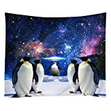 Violetpos Tapestry Indian Wandbehang Bettlaken Tapissery Tagesdecke Strand Decke Hippie Wand Hängende Dekor lustiger Pinguin Galaxie Nebelfleck Südpol 150x200 cm