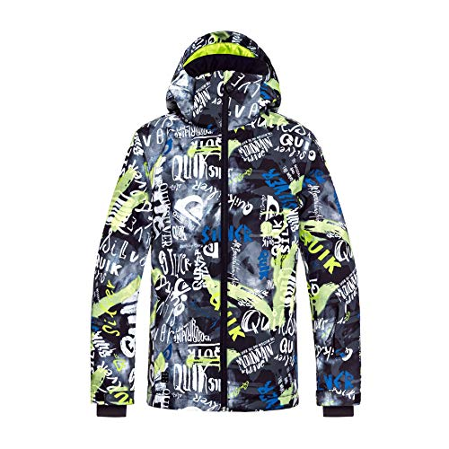Quiksilver mission printed youth, snow jacket bambini e ragazzi, black/construct, 8/s