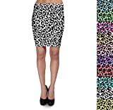 Clothing : Bright Leopard Print Bodycon Skirt XS-3XL Stretch Short Skirt