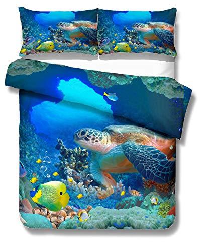 Bettwäsche Set 3D Tier Ozean Schildkröte Hai Digitaldruck Blau Bettbezug und Kissenbezug Kinder Junge Mädchen (Schildkröte und Fisch, Einzelbett 135x200 cm 2 Stück) (Baby-bettwäsche Fisch)