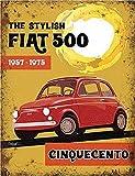 30x 40cm Fiat 500chinquecento Classic Car Retro Metall Werbeschild Wandschild