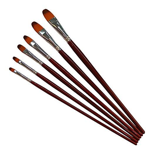 6 Stück Spa Satz (URAQT 6 Stück Künstlerpinsel Pinsel-Set Nylon, Profi- Pinsel für Acryl, Aquarell und Ölfarben)