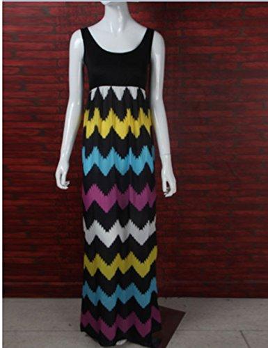 Chinatera Femme Sexy Maxi Robe Casuelle Multicolore en Vague Robe de Plage Noir