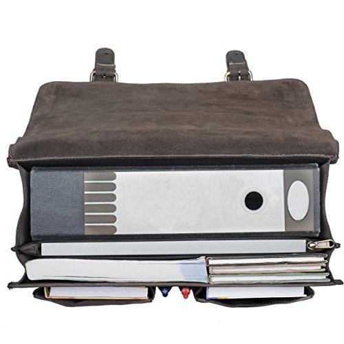 STILORD 'Karl' Cartella uomo pelle Borsa a tracolla per l'ufficio da Insegnante Professore Classica portadocumenti grande vintage Borsa ventiquattrore in cuoio, Colore:nero marrone scuro