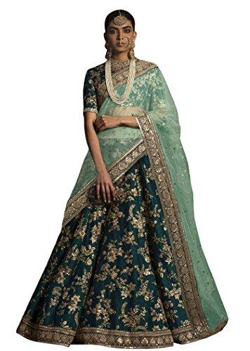 Rozy Fashion green bridal lehenga choli with heavy lace work on dupatta