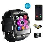 TKSTAR Business Herren Uhr Armband, Bluetooth Smart Watch Fitness GSM/GPRS mit Funktion Fernbedienung Kamera und Musik-intelligente Armband Sleep Überwachung/Schrittzähler/WHATSAPP/Benachrichtigungen Anrufe für iPhone und Android Handy Q18, schwarz