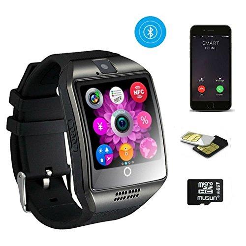 TKSTAR Business Herren Uhr Armband, Bluetooth Smart Watch Fitness GSM/GPRS mit Funktion Fernbedienung Kamera und Musik–intelligente Armband Sleep Überwachung/Schrittzähler/WHATSAPP/Benachrichtigungen Anrufe für iPhone und Android Handy Q18, schwarz (Uhr-handy Android Gsm)