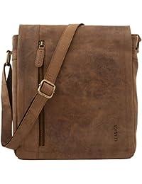 Leabags Berlin Genuine Buffalo Leather Shoulder Bag In Vintage Style - Brown