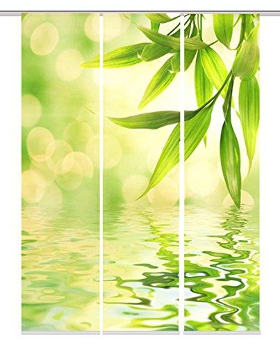 Home Fashion Digitaldruck Schiebevorhang, Stoff, grün, 60 cm x 245 cm, 3-Einheiten