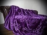 XXL Luxus Kuscheldecke Tagesdecke Decke lila / violett 200x240cm