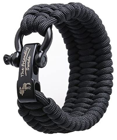 The Friendly Swede Trilobite Extra Beefy / Wide 500 lb Paracord Survival Bracelet With Stainless Steel Black Bow Shackle - Adjustable Size Fits 7-8 Inch Wrists - In Retail Packaging - Lifetime Warranty (Black, 9-inch)