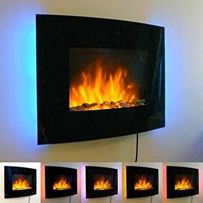 1.8kW Black Curved Glass Screen Wall Mounted Fire Flame Effect Fireplace with 7 Colour LED Backlights