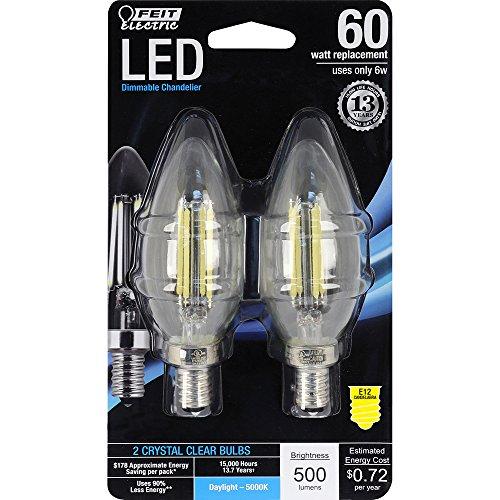 Feit Energiesparlampe Elektrische bpctc60/850/LED/2entspricht 60W klar Tageslicht Dimmbar Kronleuchter Stumpfe Spitze Kandelaber Base LED Leuchtmittel (2Pack) -