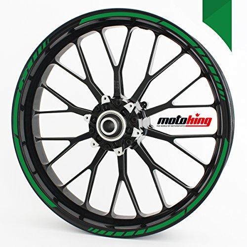 Adhesivos para borde de llanta Motoking - verde - Juego completo de 15' a 19' / color opcionales
