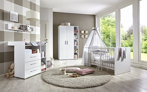 Babyzimmer / Kinderzimmer komplett Set KIM in Weiß Babymöbel Komplettset Made in Germany