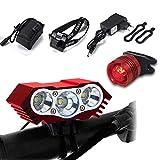 LYNOON Luz de Bicicleta, Luz Frontal Bici Luces Bicicleta Delantera y Trasera Impermeable Luz de Flash al Aire Libre 7500 Lumen 3 LED para Carretera y Montaña - Seguridad para la Noche Ciclismo(Rojo)