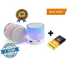 Cat S60 Compatible Bluetooth Speaker Mini Card Reader Combo Pack Portable Mini Wireless Audio S10 LED Light Enabled Speakers with TF Micro SD Memory Cards Slot FM Radio Aux Cable Functionality Premium High Quality Product Extra Bass Play Mp3 Mp4 Acc and many formats New Arrival Best Selling Lowest Price Supports All Android and Apple Iphone Ios Smartphones Tablets Laptops Devices Random Color By Casvo