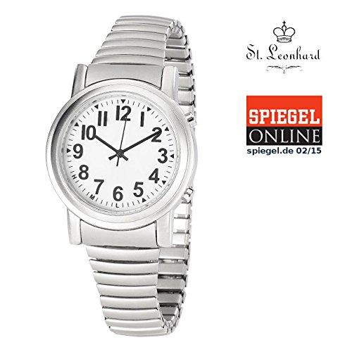 St. Leonhard Sprechende Armbanduhr: Sprechende Seniorenuhr mit Funk und Solar, versilbert (Solaruhr)