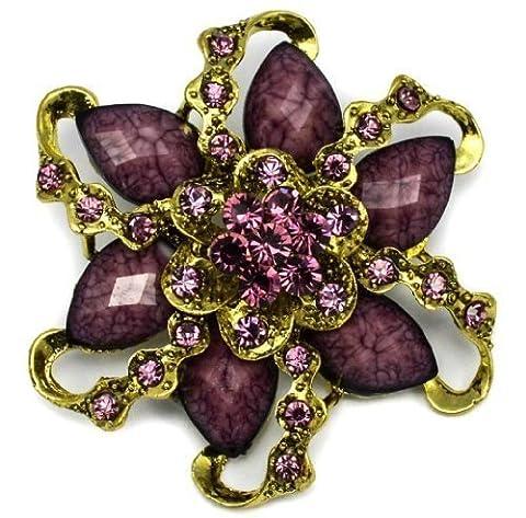 Elixir77UK Blume/Strauß Brosche, mit violetten Kristallen, groß, ideales Geschenk, Goldfarben
