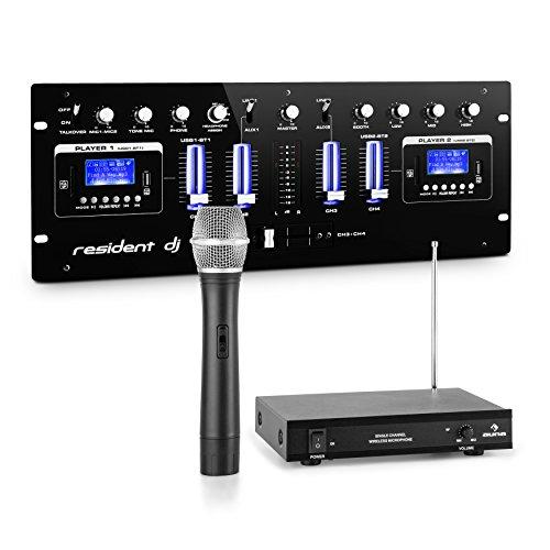 resident dj DJ405USB-BK • 4-Kanal-DJ-Mischpult • DJ-Mixer • 1-Kanal-VHF-Funkmikrofon Set mit Handmikro • 50m Reichweite • Mixer mit Aufnahmefunktion • 2 x Bluetooth-Schnittstelle • 2 x USB- & SD-Slot
