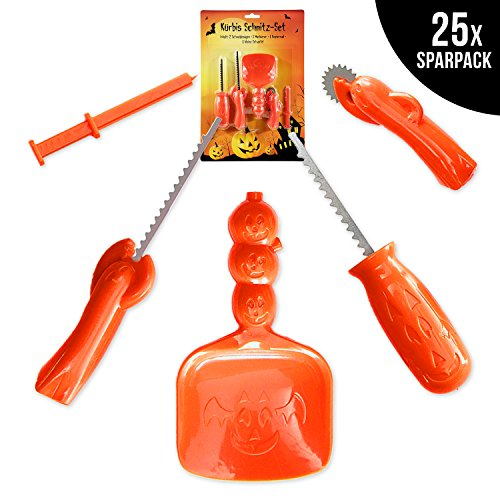 25x Kürbis Schnitzset im Halloween-Sparpack - 25x 5-teiliges Pumpkin Carving Set mit Schneidesägen, Markierer, Schneiderad & - Kleine Halloween-fünf Kürbisse