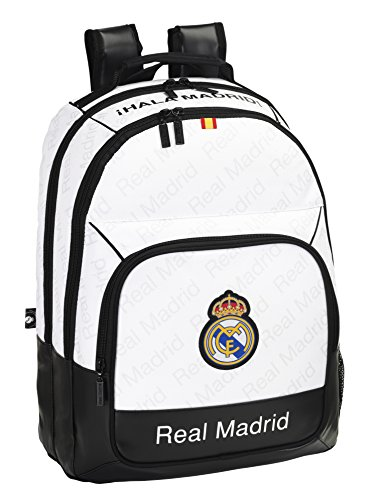 Safta Real Madrid Mochila Doble Adaptable, Color Blanco