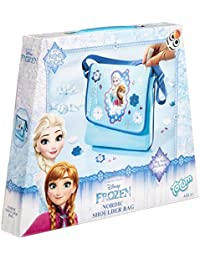 Frozen Bastel-Set: Umhänge-Tasche mit Anna und Elsa-Druck – zum Selber Verzieren mit Steinen, Knöpfen, Glitzer-Leim, Blumen und Sternen, Geschenk für Mädchen