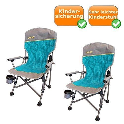 Jeu de 2 Set pliable - chaises de camping comprenant Porte-boissons, Sécurité enfants, 60Kg capacité, sûr Loop Stand, aussi sur doux Fond, par 2Kg Poids net, bleu-argent