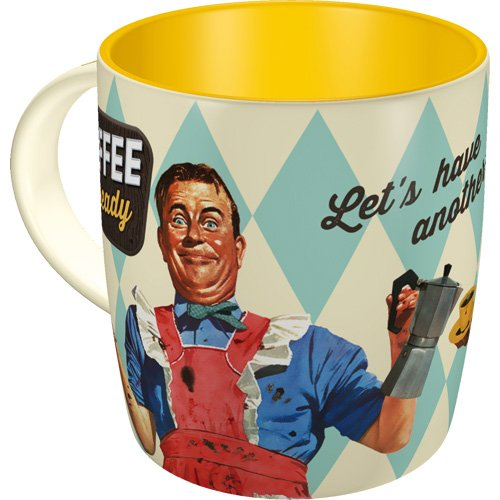 Nostalgic-Art 43017 Say IT 50's - Coffee is Ready | Retro Tasse mit Sprüchen | Kaffee-Becher |...