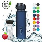 720°DGREE Trinkflasche 'uberBottle' - 500 ml, 0,5 l, Blau | Neuartige Tritan Wasser-Flasche | Water Bottle BPA Frei | Ideale Sportflasche für Kinder, Fitness, Fahrrad, Sport, Fussball