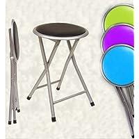 Sedia sgabello pieghevole in metallo con seduta imbottita altezza cm45; colori assortiti