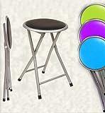 Paolo Rossi Tabouret pliable avec siège souple en simili-cuir, idéal pour maisons, jardins, campings, caravanes argent