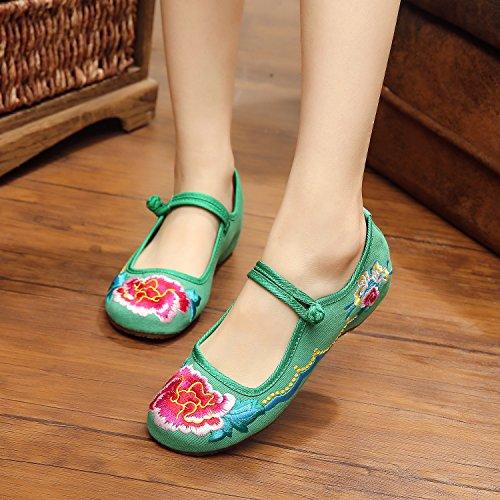 Sapatos Feminina Verdes Moda Estilo Confortáveis De Longa Únicos Lona Gxs Sapatas Bordados Bem Étnico TxnqfdwTH
